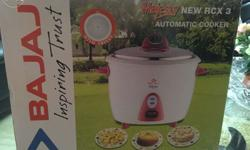 Rice cooker sealed pack, white colour with printed mrp