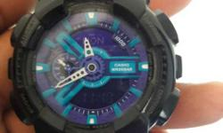 Round Black And Purple G-Shock Casio Digital Watch With