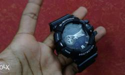 Round Black Casio Gshock Analog Watch With Black Strap