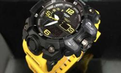 Round Black Digital Analog Watch With Yellow Rubber