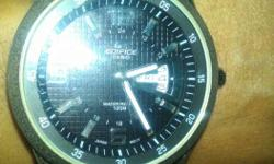 Round Black Edifice Analog Watch With Black Band