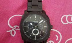 Round Black Fossil Chronograph Watch With Link Bracelet