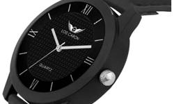 Round Black Lois Caron Analog Watch With Black Band
