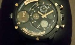 Round Black Police Chronograph Watch Not used warranty