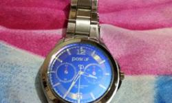 Round Blue And Silver Chronograph Watch With Silver