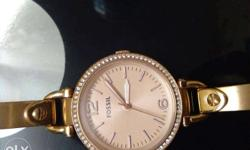 Round Gold Fossil Diamond Analog Watch extra gift used