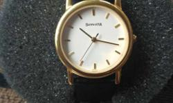 Round Gold Sonata Analog Watch With Black Leather Band