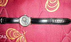 Round Grey Analog Watch With Black Leather Strap