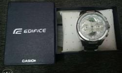 Round Silver Edifice Casio Chronograph Watch With