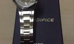 Round Silver Edifice Chronograph Watch With Silver Link