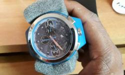 Round Silver Fastrack Chronograph Watch With Blue Strap
