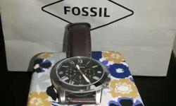 Round Silver Fossil Analog Watch With Brown Leather