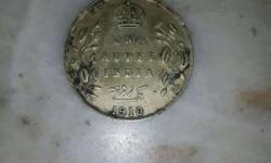 Round Silver One Rupee India 1910 Coin