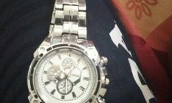 Round White Chronograph Watch With Silver Link Strap