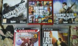 Five Assorted PS3 Game Cases Last of us GTA5 Sniper