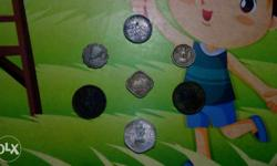 Seven Old Indian Coins for sale