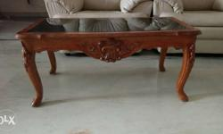 shaharanpur carved wooden centre table with glass top