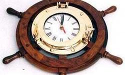 "Ship wheel clock - 13"" Other size are available."