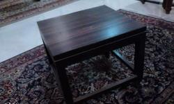 two wooden side tables, dark brown, 1500 each 43 cms