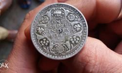 Silver 1 Indian Rupee Coin
