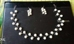 Silver And White Studded Necklace