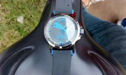 Silver Framed Puma Analog Watch With Rubber Strap