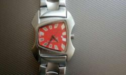 Silver Link Band Square Analog Watch