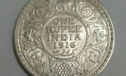 Silver One Rupee India 1916 Coin
