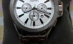 Silver Round Chronograph Watch With Silver Link
