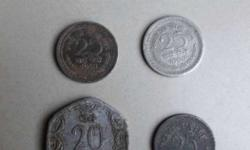 Six Round Coins of 1 paise 20 paise 10 paise and old