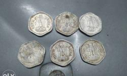 Six Silver Indian Paise Coins