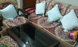 Sagwan wood 5 seater sofa set with centre glass table