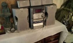 sony music system with DVD changer and surround sound 5