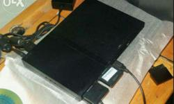 Black colour sony ps2 with attached hard disc, 2