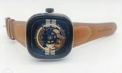 Square Black Skeleton Watch With Brown Leather Band