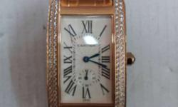 Squared Face Gold Studded Cartier Analog Watch With