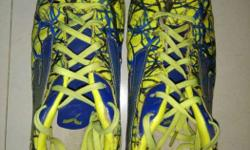 Pair Of Blue-and-yellow Lace-up Cleats