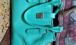 Teal Leather Duffel Bag