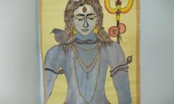 this is a water colour painting of hindu god Shiva for