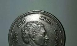 This a rare 5 rupee coin of late prime minister smti