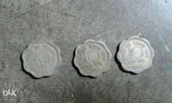 Three 10 Scallop Silver Indian Paise Coins