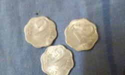 Three Pieces 2 Indian Paise Coins