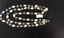 Three rows long necklace with white stones