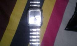 Silver Framed Analog Watch With Silver Link Bracelet