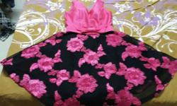 Toddler's Black And Pink Floral Sleeveless Dress