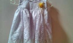 Toddler's Purple And White Floral Lace Sleeveless Dress