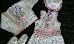 Toddler's White-and-pink Knit Dresses And Shirts