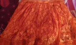 Toddler's White And Orange Floral Dress