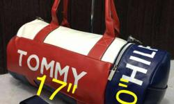 Tommy Hilfiger Red White And Blue Leather Duffel Bag