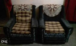 Two Black Suede Armchairs